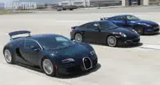 Видео Bugatti Veyron против Nissan GTR против Porsche 911 Turbo S