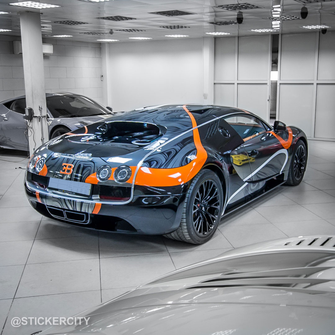 Bugatti Veyron Super Sport - black chrome от Sticker City
