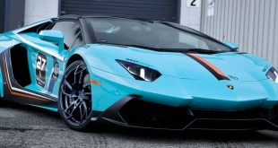Blue Lamborghini Aventador Roadster insired 50th Anniversary с колесами PUR RS05