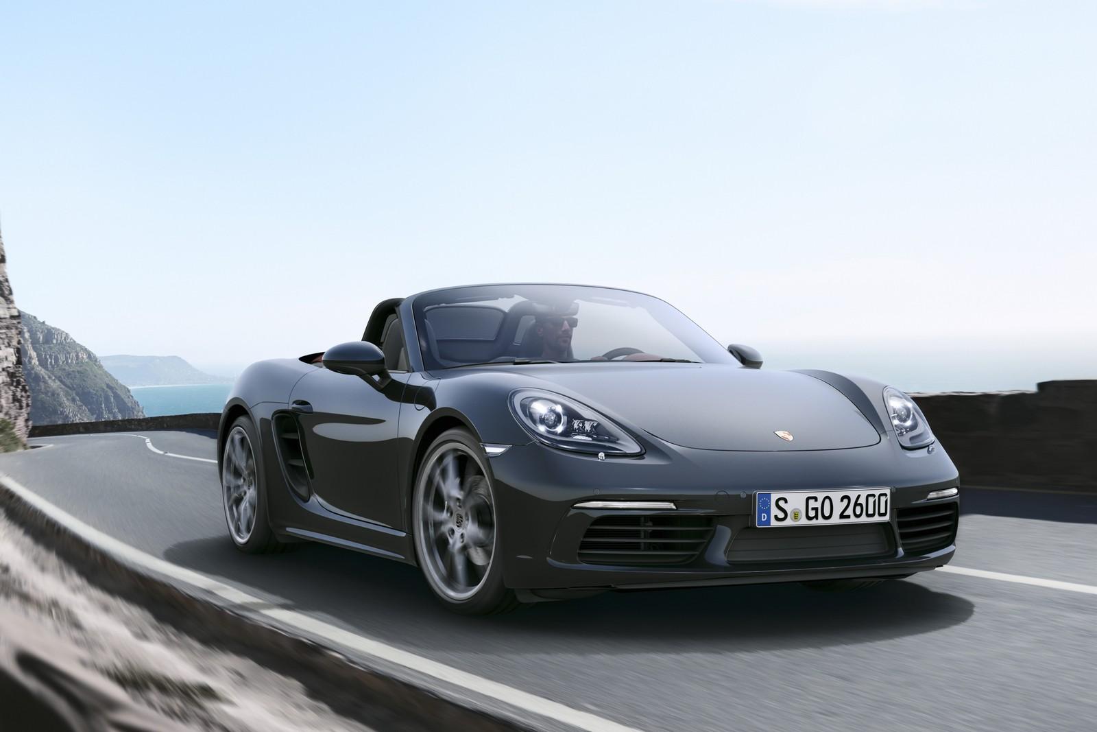 Porsche 718 Boxster официальное фото, черный спереди
