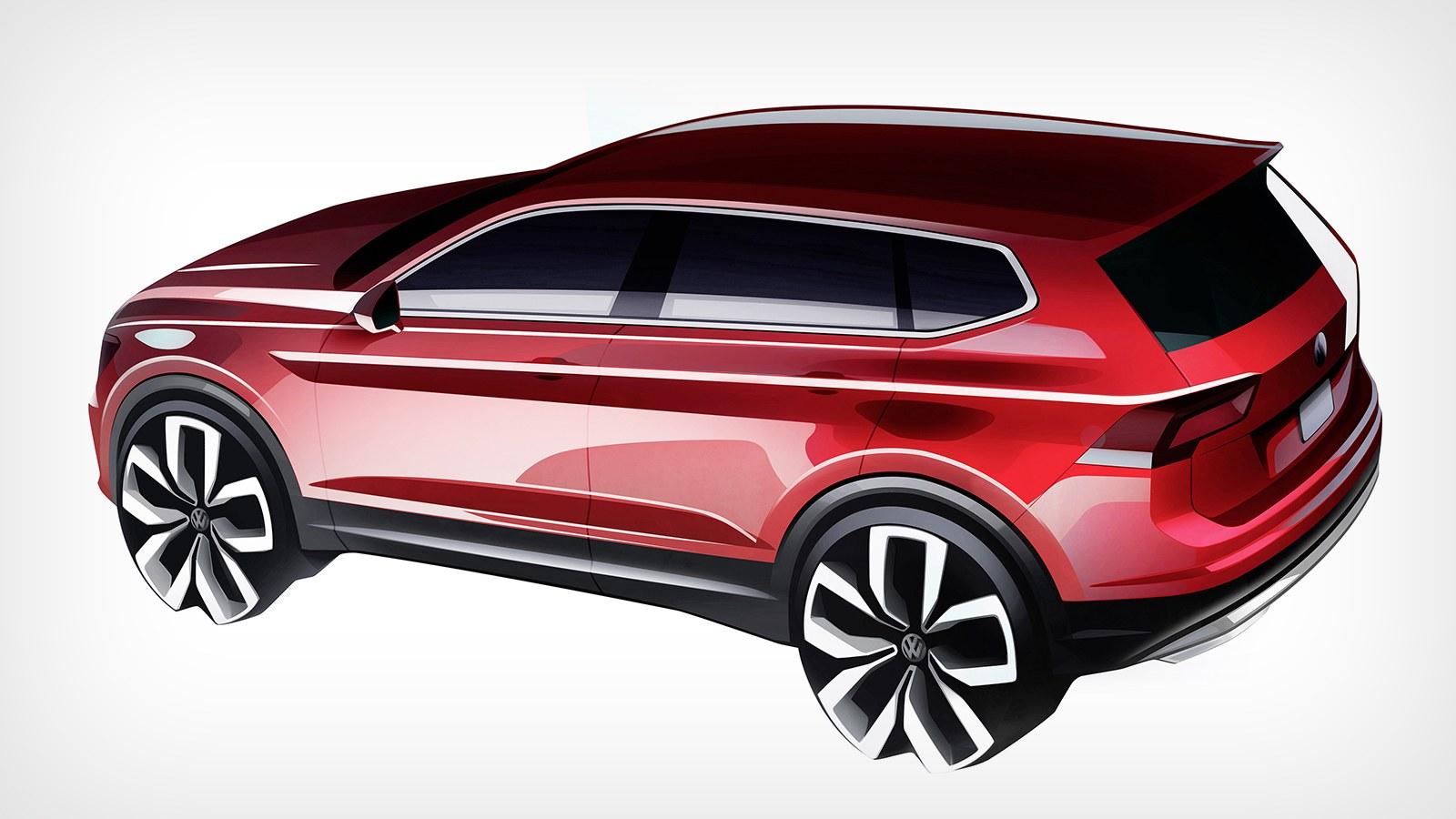 VW продемонстрировал тизеры европейской длинной версии модели Tiguan