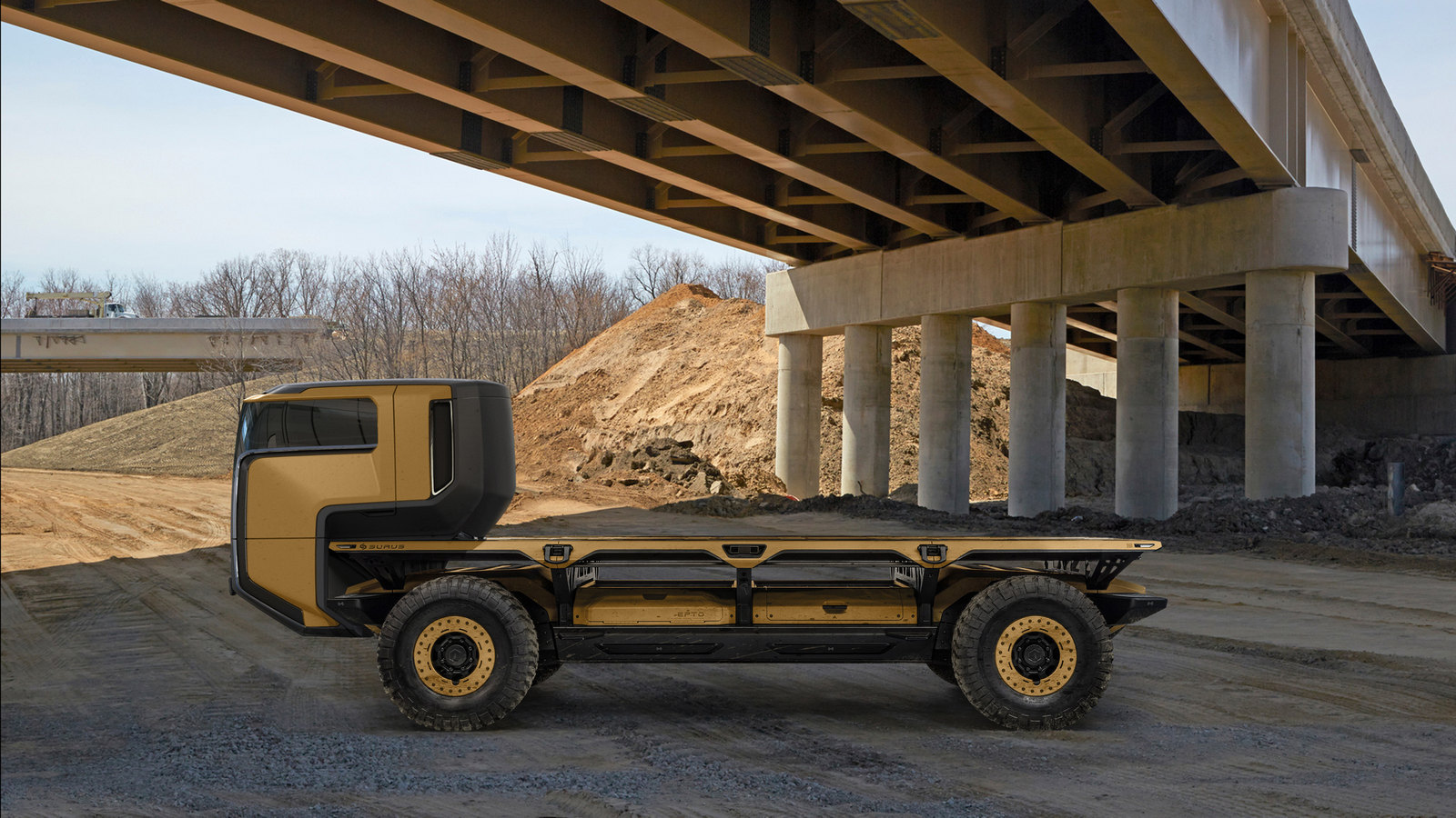 A rendering of the Silent Utility Rover Universal Superstructure (SURUS) platform with a truck chassis to show the potential of flexible fuel cell solutions. SURUS was designed to form a foundation for a family of commercial vehicle solutions that leverages a single propulsion system integrated into a common chassis.
