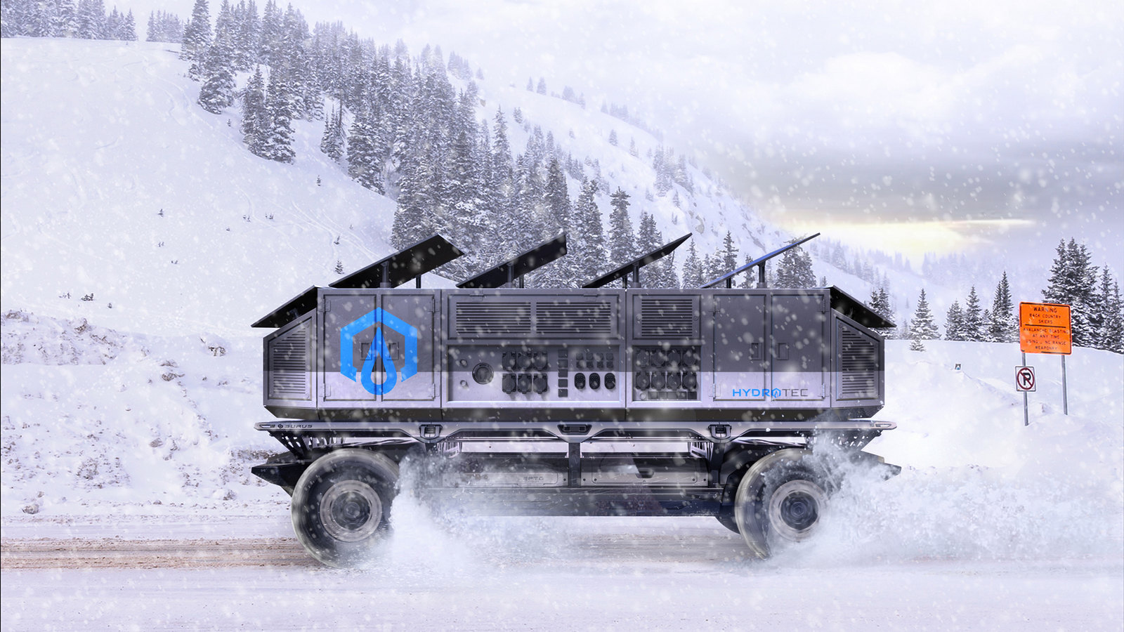 A rendering of the Silent Utility Rover Universal Superstructure (SURUS) platform with solar panels and power generators to show the potential of flexible fuel cell solutions. SURUS was designed to form a foundation for a family of commercial vehicle solutions that leverages a single propulsion system integrated into a common chassis.