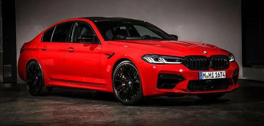 Рестайлинговый BMW M5 показался в культовом красном цвете