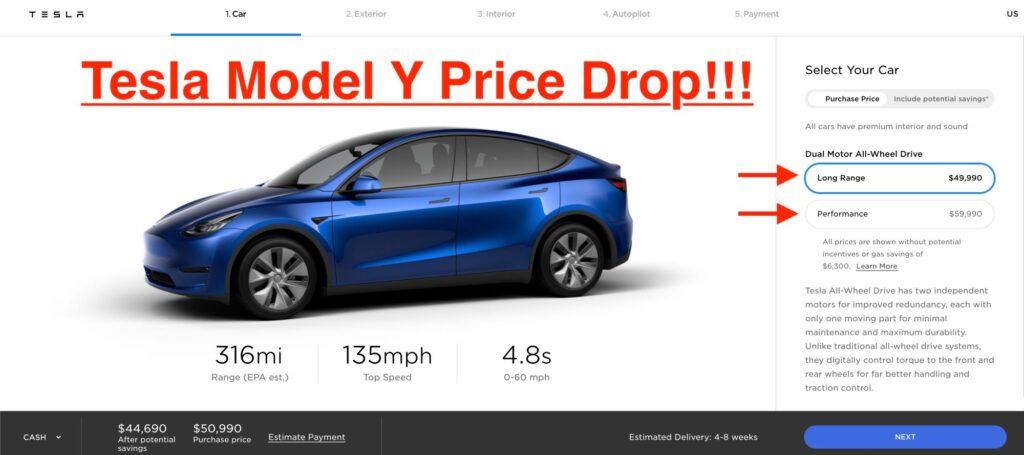 Tesla снизила стоимость электрического кроссовера Model Y на $3000