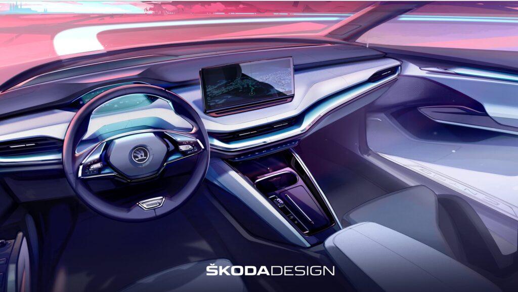 Skoda показала дизайн нового электрокроссовера Enyaq iV на эскизах