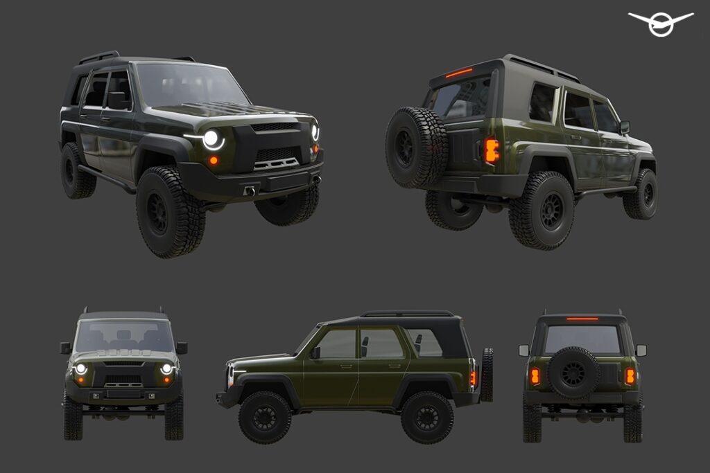 УАЗ опубликовал рендеры нового поколения внедорожника УАЗ Хантер