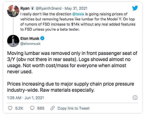 Маск утверждает, что цены на Tesla резко выросли из-за давления в цепочке поставок